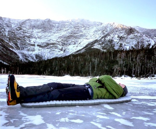 "The 2011 version of the Therm-a-Rest NeoAir XTherm below northern Maine's Mt. Katahdin. Tom is 6'3"" and slept on snow with the XTherm at -10 degrees F."