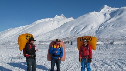 Ryan O'Connell  Eric Dalzell  and Ian Nicholson testing airbag packs at Thompson Pass near Valdez  Alaska.