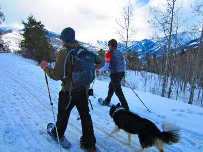 Snowshoeing is a low impact aerobic activity to get you out of the house in the winter months. The TSL Symbioz Elite snowshoes and MSR Evo snowshoes are both great introductory options for packed snow and groomed trails.