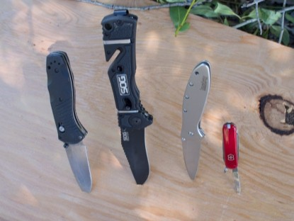 2016 OutdoorGearLab pocket knife award winners. Left to right: Editors Choice Mini Barrage  Top Pick SOG Trident  Best Buy Kershaw Leek  and Top Pick Victorinox Classic.