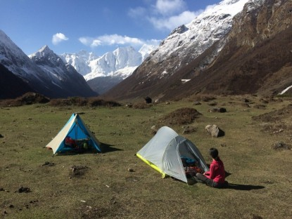 A leisurely morning is spent lounging near camp high on the Manaslu circuit in Nepal  the night after a long rain storm which dropped snow at higher elevations. These are the Beta Light and the Fly Creek 2 Platinum.