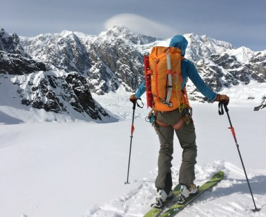 "Enjoying stellar views and calm conditions on the Ruth Glacierâ€""Denali's summit is best appreciated from afar on this day."